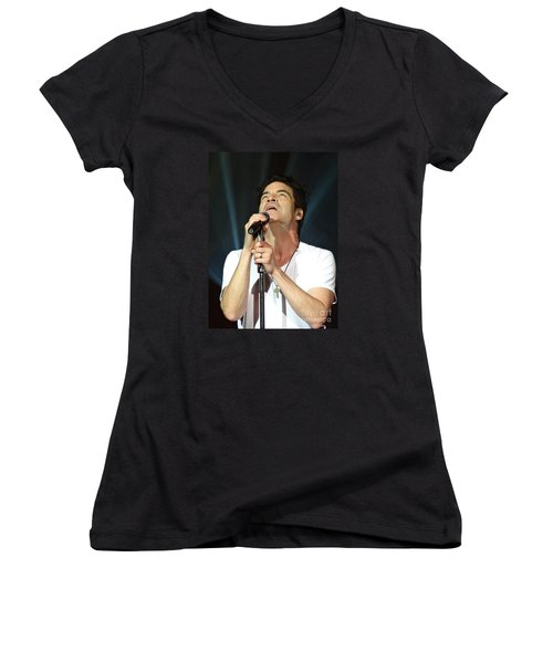 Train's Pat Monahan Women's V-Neck T-Shirt (Junior Cut) by Cindy Manero