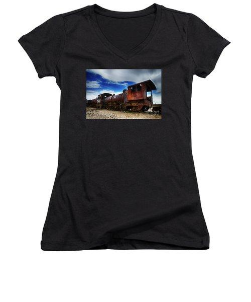 Train Graveyard Uyuni Bolivia 15 Women's V-Neck (Athletic Fit)