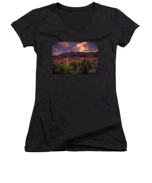 Women's V-Neck T-Shirt (Junior Cut) featuring the photograph Train Trestle Over The James by Melissa Messick