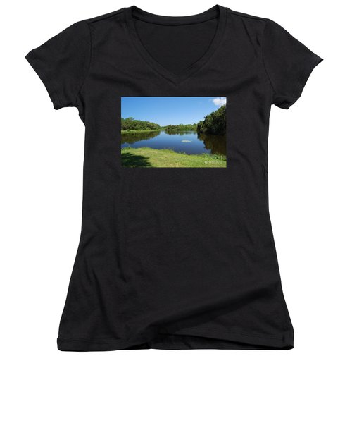 Women's V-Neck T-Shirt featuring the photograph Tranquil Lake by Gary Wonning