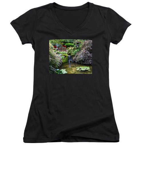Tranquility In A Japanese Garden Women's V-Neck (Athletic Fit)