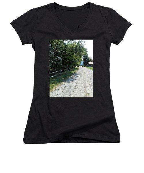 Trapp Family Lodge Rustic Road Women's V-Neck T-Shirt (Junior Cut) by Felipe Adan Lerma