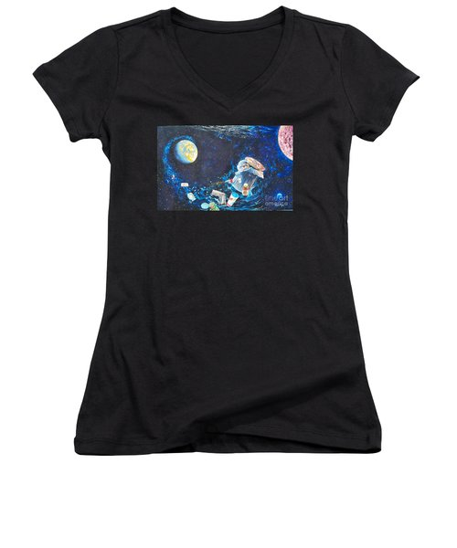 We Loved Earth At One Time - Yes We Did. Women's V-Neck