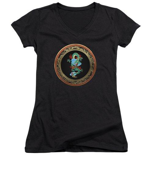 Treasure Trove - Turquoise Dragon Over Black Velvet Women's V-Neck T-Shirt (Junior Cut) by Serge Averbukh