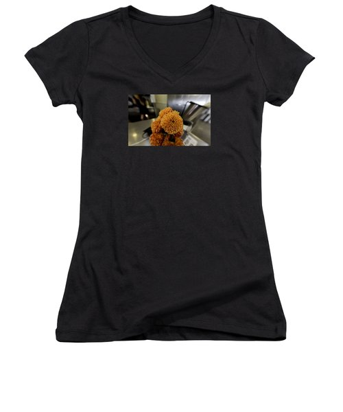 Women's V-Neck T-Shirt (Junior Cut) featuring the photograph Treats At The Ice Cream Parlor by Lora Lee Chapman