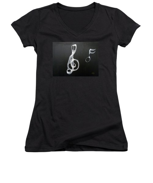 Treble Clef Women's V-Neck