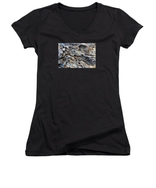 Women's V-Neck T-Shirt (Junior Cut) featuring the photograph Tree Bark 1 by Jean Bernard Roussilhe