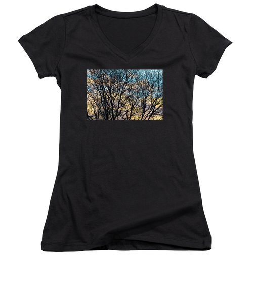 Women's V-Neck T-Shirt (Junior Cut) featuring the photograph Tree Branches And Colorful Clouds by James BO Insogna
