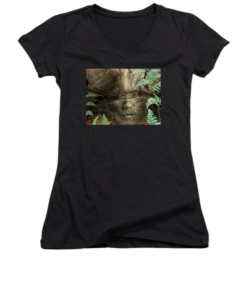 Women's V-Neck T-Shirt (Junior Cut) featuring the photograph Tree Memories # 32 by Ed Hall