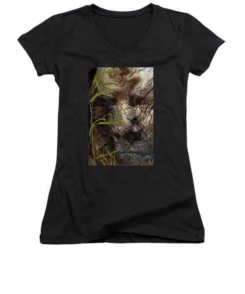 Women's V-Neck T-Shirt (Junior Cut) featuring the photograph Tree Memories # 37 by Ed Hall