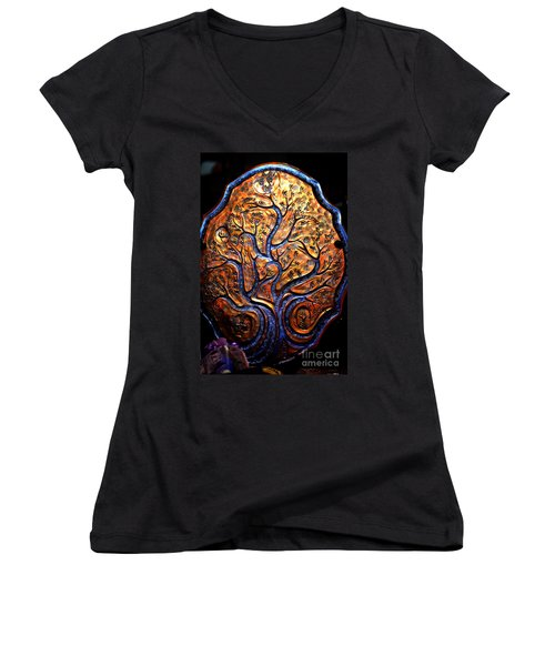 Women's V-Neck T-Shirt (Junior Cut) featuring the ceramic art Tree Of Life by Susanne Still
