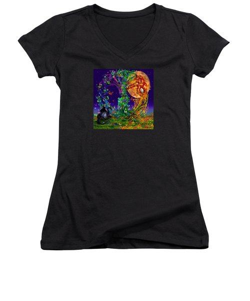 Tree Of Life With Owl And Dragon Women's V-Neck T-Shirt (Junior Cut) by Michele Avanti