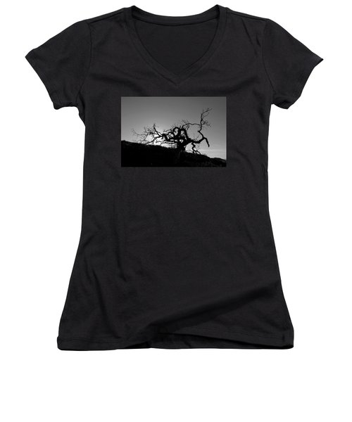 Tree Of Light Silhouette Hillside - Black And White  Women's V-Neck (Athletic Fit)