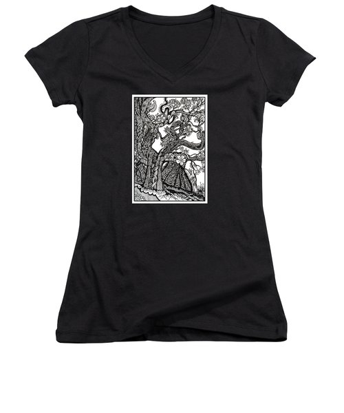 Tree On A Hillside Women's V-Neck (Athletic Fit)