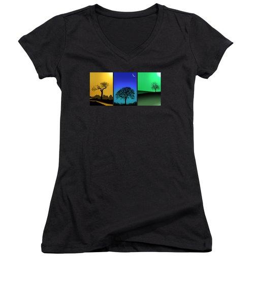 Tree Triptych Women's V-Neck T-Shirt (Junior Cut) by Mark Rogan
