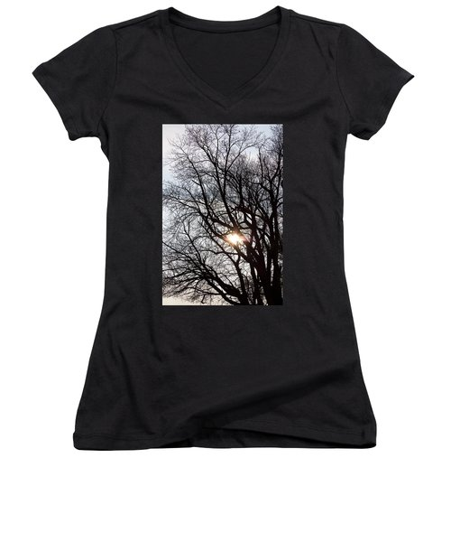 Women's V-Neck T-Shirt (Junior Cut) featuring the photograph Tree With A Heart by James BO Insogna