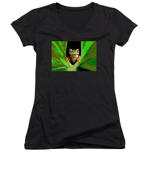 Treefrog Women's V-Neck T-Shirt (Junior Cut) by Charles Shoup