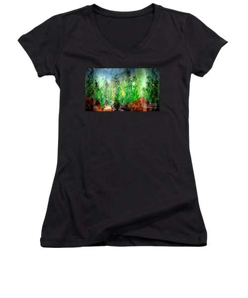 Women's V-Neck T-Shirt (Junior Cut) featuring the painting Trees 4 by John Krakora