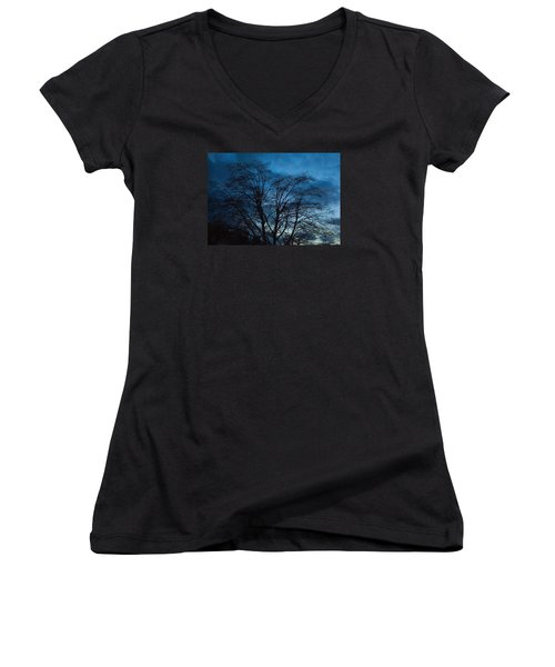 Trees At Dusk Women's V-Neck T-Shirt