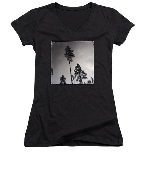 Trees Black And White Wetplate Women's V-Neck