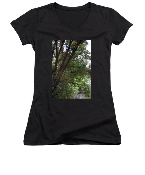 Trees Reflected In A Woodland Stream 2867 H_2 Women's V-Neck T-Shirt