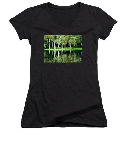 Trees Reflected In Water Women's V-Neck T-Shirt (Junior Cut) by Colin Rayner