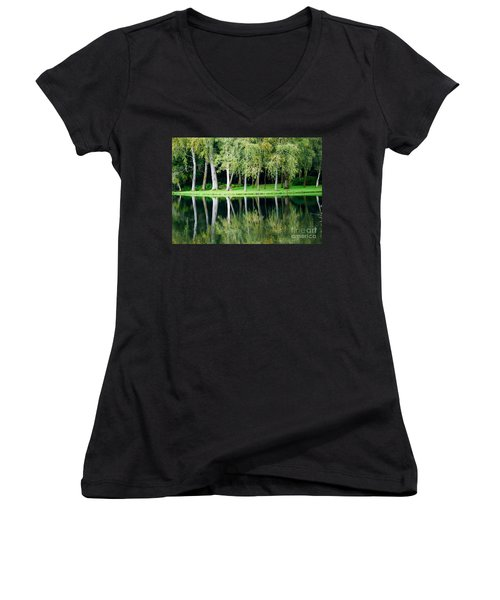 Trees Reflected In Water Women's V-Neck