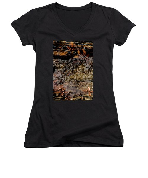 Women's V-Neck T-Shirt (Junior Cut) featuring the photograph Tree's Reflection by Iris Greenwell