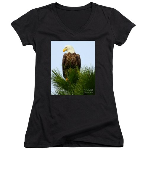 Women's V-Neck T-Shirt (Junior Cut) featuring the photograph Treetop Eagle by Myrna Bradshaw
