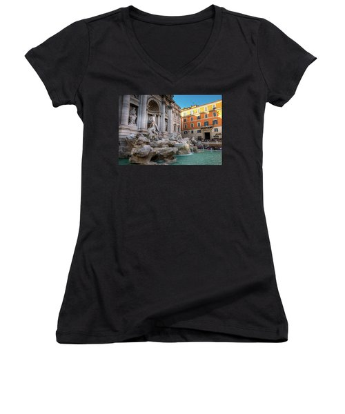 Trevi Fountain Women's V-Neck T-Shirt (Junior Cut) by Fink Andreas