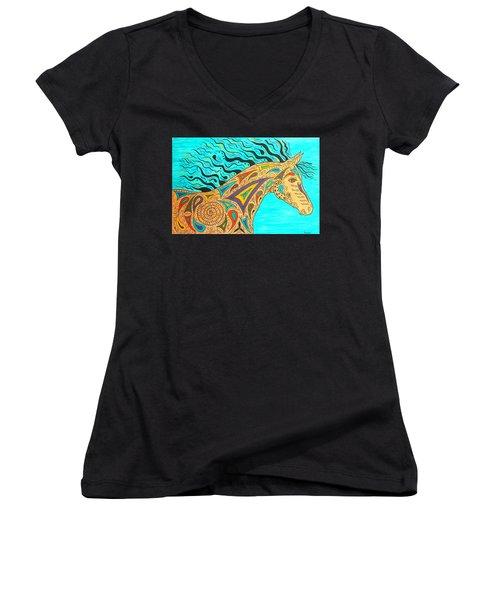 Tribal Carnival Spirit Horse Women's V-Neck T-Shirt (Junior Cut) by Susie WEBER