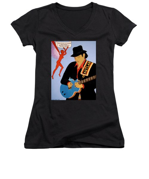 Women's V-Neck T-Shirt (Junior Cut) featuring the painting Tribute To Carlos by Stephanie Moore