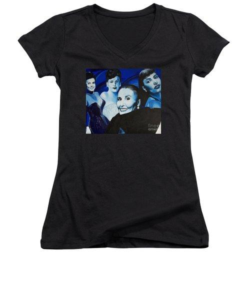 Tribute To Lena Horne Women's V-Neck T-Shirt (Junior Cut) by Chelle Brantley
