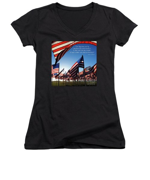 Women's V-Neck T-Shirt featuring the photograph Thank You by Peggy Hughes