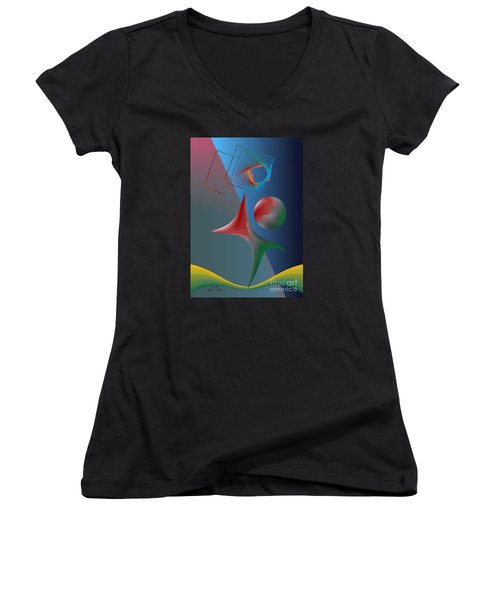 Women's V-Neck T-Shirt (Junior Cut) featuring the digital art Trick by Leo Symon