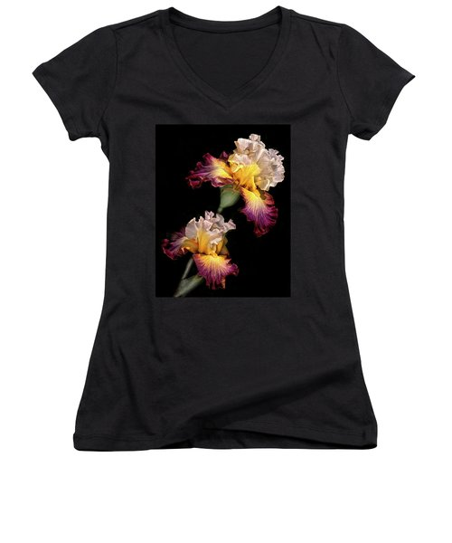 Tricolor Iris Pair Women's V-Neck T-Shirt