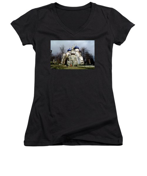 Trinity Lavra Of St. Sergius Russian Orthodox Churchsergiev Posad Women's V-Neck T-Shirt (Junior Cut) by Wernher Krutein