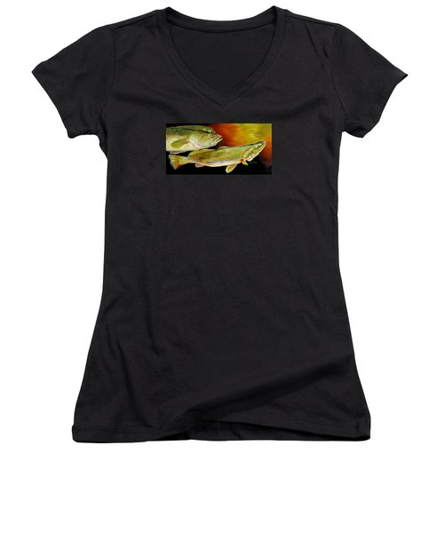Women's V-Neck T-Shirt (Junior Cut) featuring the painting Triple Trout by Phyllis Beiser