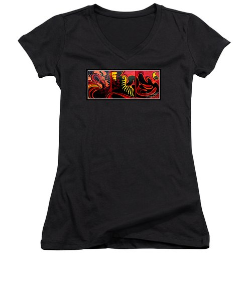 Women's V-Neck T-Shirt (Junior Cut) featuring the painting Triptych Abstract Vision by Jolanta Anna Karolska