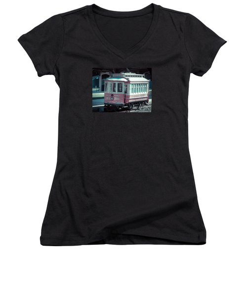 Women's V-Neck T-Shirt (Junior Cut) featuring the photograph The Trolley by Melissa Messick