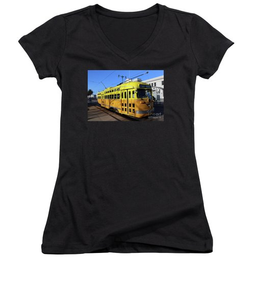 Women's V-Neck T-Shirt (Junior Cut) featuring the photograph Trolley Number 1052 by Steven Spak