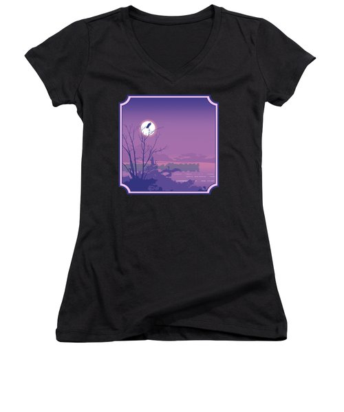Tropical Birds Sunset Purple Abstract - Square Format Women's V-Neck (Athletic Fit)