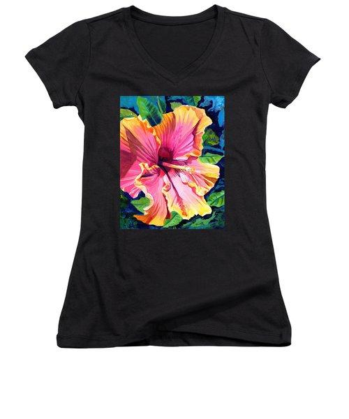 Tropical Bliss Hibiscus Women's V-Neck
