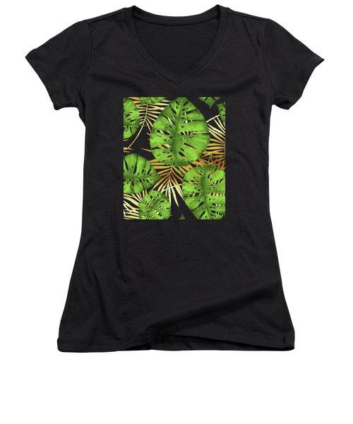 Tropical Haze Noir Green Monstera Leaves, Golden Palm Fronds On Black Women's V-Neck (Athletic Fit)