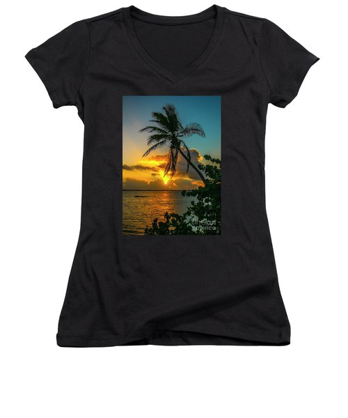 Tropical Lagoon Sunrise Women's V-Neck (Athletic Fit)