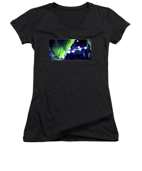 Women's V-Neck T-Shirt (Junior Cut) featuring the digital art Tropical Night by Mindy Newman