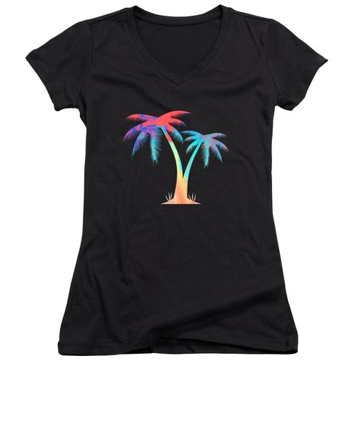 Tropical Palm Trees Women's V-Neck (Athletic Fit)