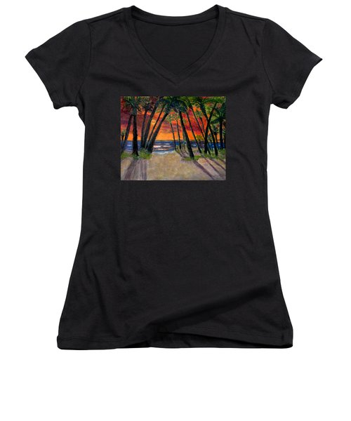 Tropical Sunset Women's V-Neck