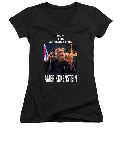 Trump The Abomination Women's V-Neck (Athletic Fit)