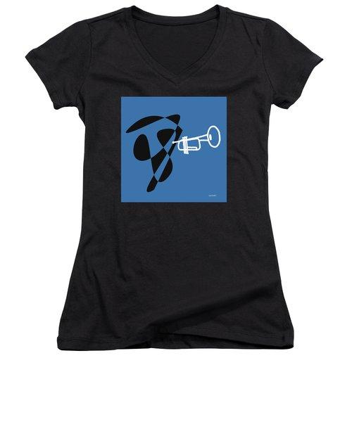 Women's V-Neck T-Shirt (Junior Cut) featuring the digital art Trumpet In Blue by Jazz DaBri